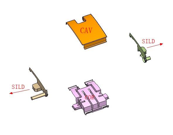 产品分公母模及滑块属性